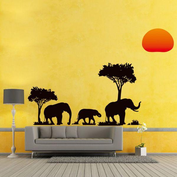 89*37CM Africa Elephant Sunset Trees Home Decor Wall Sticker Nursery Kindergarten Office Sofa Backdrop Decorative Decals