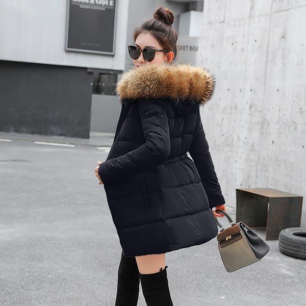 Acheter Veste D'hiver Femme Manteau Femme Hiver Nouveau 2018 Manteaux Manteau En Fausse Fourrure Parka Femme Noir Épais Coton Doublé Rembourré
