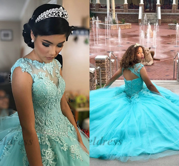 Blue Quinceanera Dresses Ball Gowns Hollow Lace up Back Sheer Neck Lace Appliques Gorgeous Girls Prom Party Dresses for Masquerade 2018