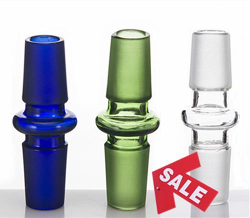 Adattatore di vetro colorato Vetro Drop Down Mini adattatori da 14 mm 18 mm maschio a maschio Joint Bule verde chiaro per bong di vetro