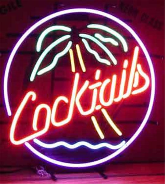 """NEON SIGN For COCKTAILS PALM TREE Signboard REAL GLASS BEER BAR PUB display christmas Light Signs 17*14"""""""