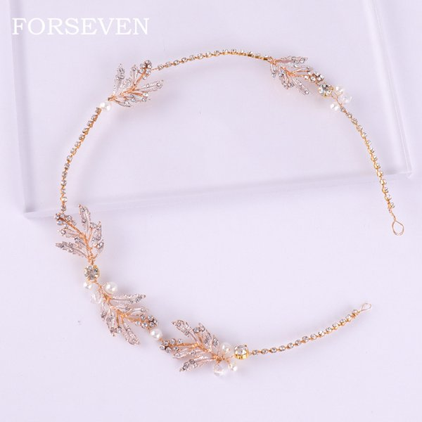 crystal rhinestone headbands for women bridal hairband leaf pearl headband wedding brida hair band headpieces accessories