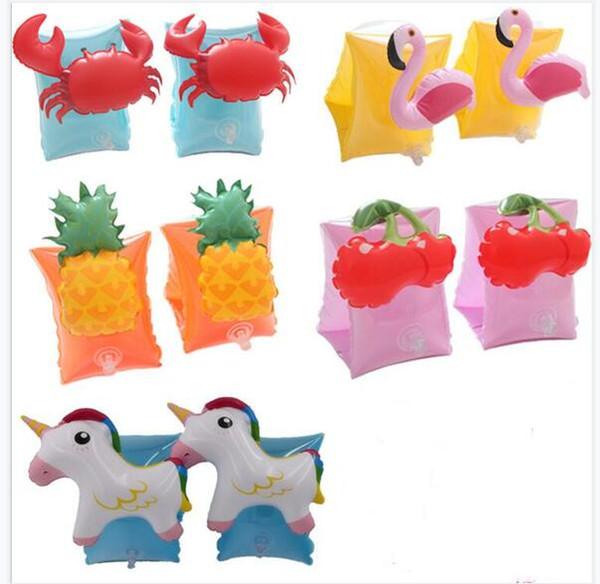 Cangrejo inflable Juguetes de playa Anillo de brazo de natación Niños Flotación Brazo Manga de natación Los niños usan flotadores Juegos de agua Anillos Envío gratis