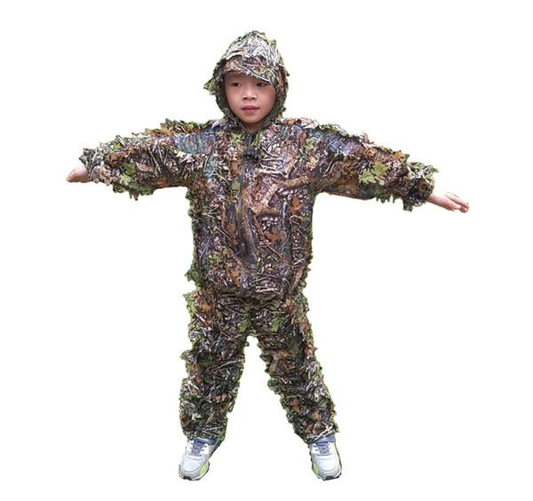 Yeni tasarım çocuk 3D akçaağaç yaprağı Biyonik Ghillie Kamuflaj Avcılık Suits Giysileri 6-14 yaş çocuk