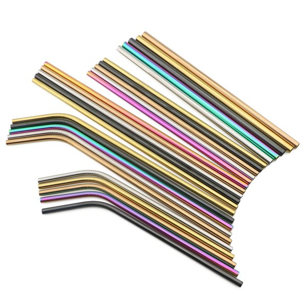 Wholesale 100-Pcs Colorful Stainless Steel Drinking Straws Straight Bent Reusable Metal Straw Fruit Juice Tea Coffee Bar Tools Dropship