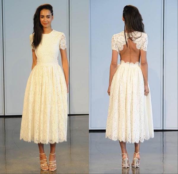 Diseñador Bohemia vestidos de novia de longitud completa de encaje de encaje cuello alto mangas sin respaldo playa verano nupcial de la boda más vestidos de tamaño