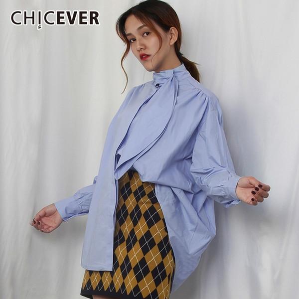 CHICEVER Camicetta da donna vintage autunno camicette Top pieghettato pizzo maniche lunghe Camicie larghe Blusa Abbigliamento Moda coreano Nuovo