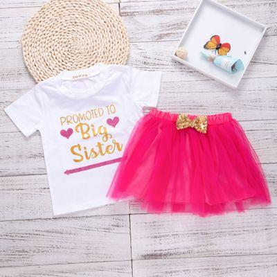2018 Kids Baby Girl Clothes Sets Big Sister Shirt+Gauze Bowknot Skirt Two Piece Sets Girl Summer Clothes Sets