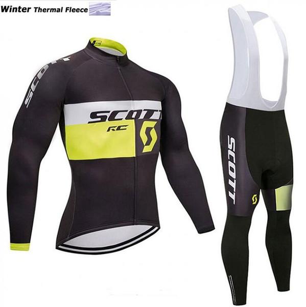 2018 Thermal fleece Cycling Jersey Long Sleeve and Cycling bib Pants Cycling Kits Strap Ciclismo bicicletas MTB Sports Wear B18111301