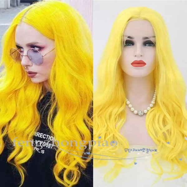 FZ Yellow Color Cosplay Wig Heat Resistant Hair 150 Denstiy Long Wave Synthetic Lace Front Wigs for Women Middle Part