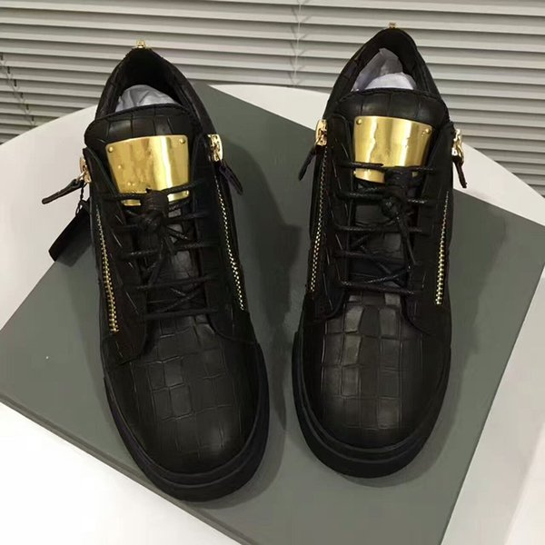 Hot Sales Fashion Brand Shoes Men Women Casual Low Top Black Leather Sports Shoes Double Zipper Flat Men Sneakers Iron Sheets Shoes 35-46 02