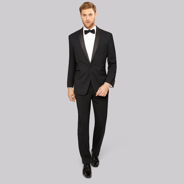2018 Latest Design Navy Blue Men Suits for Wedding Shawl Lapel Handsome Groom Tuxedos Slin Fit Bridegroom Blazers 2 Pieces Jacket+Pants