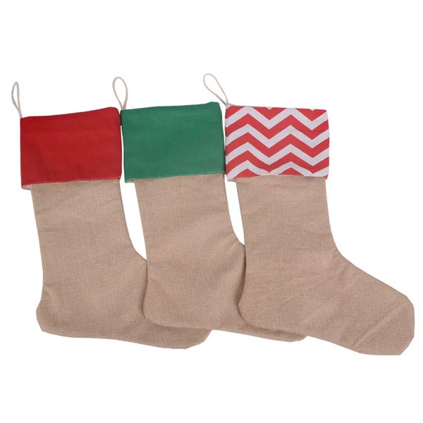 wholesale linen-looks fabric Xmas stocking burlap Santa stocking gift bag for kids red green chevron polka dots cuff