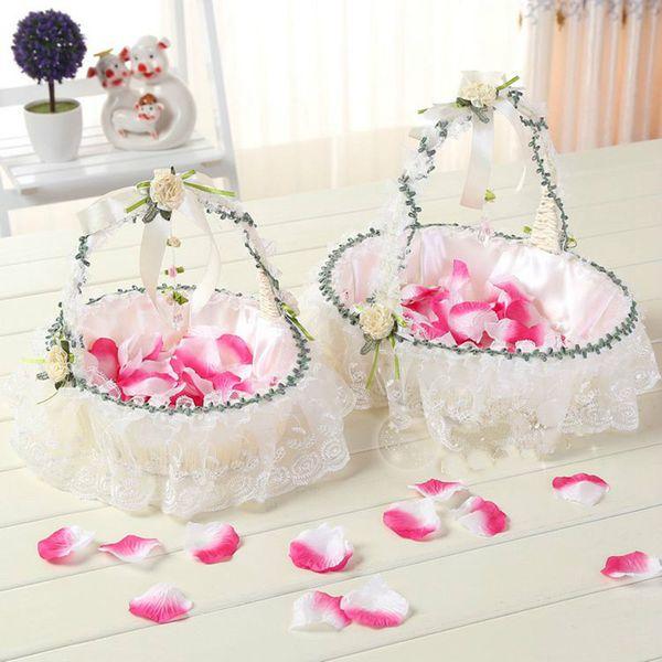 2 Pcs Wedding Flower Basket Bridesmaid Children S Hand Basket Wedding Decoration Petals Small Basket Of Flowers Rose