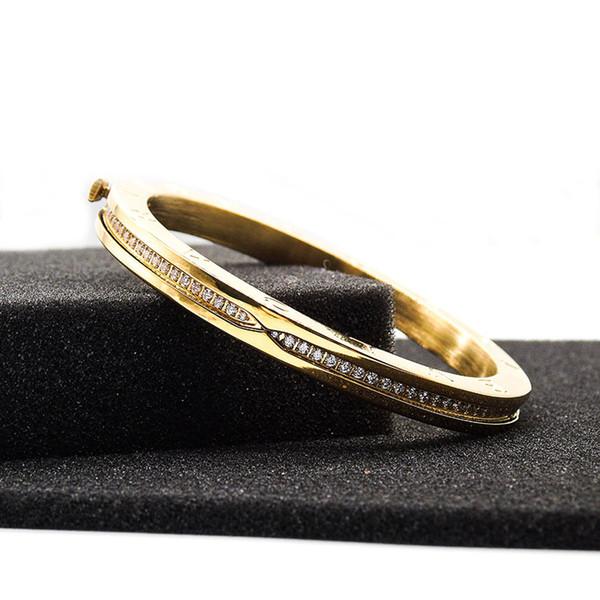 Bijoux de mode diamants bracelet pour les femmes hommes plaqué or menottes bracelets manchette amour bracelets cadeau de noël