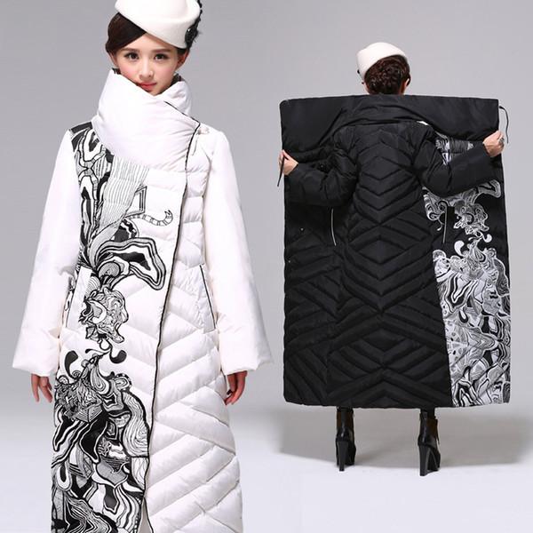 Weiße Entendaunen Winterjacke Frauen Über Knie Lange Jacke Weibliche Dicke Frauen Daunen Lose Mäntel Parka Plus Größe 3XL C2497