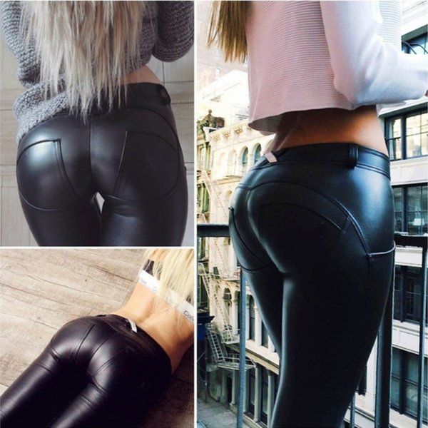 2018 New Fashion Women Sexy Faux Leather Leggings Black Footless Leggings Black Long Autumn Winter Trousers Plus Size S-5XL
