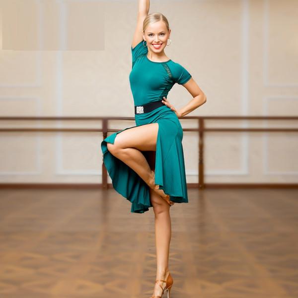 Schwarz Grün Erwachsene / Mädchen Latin Dance Kleid Salsa Tango Cha Cha Ballsaal Wettbewerb Praxis Dance Kleid Spitze Nähte Kurzarm Kleid