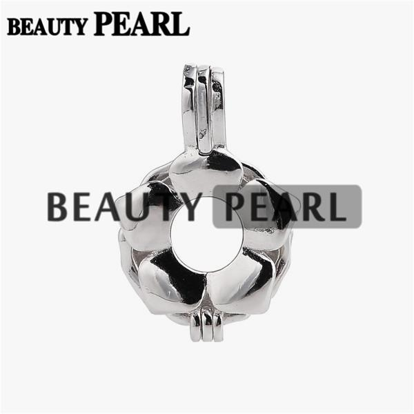 5 Pieces Pearl Pendant Mount Gift Flower Cage Love Wish Pearl 925 Sterling Silver Cage Lockets