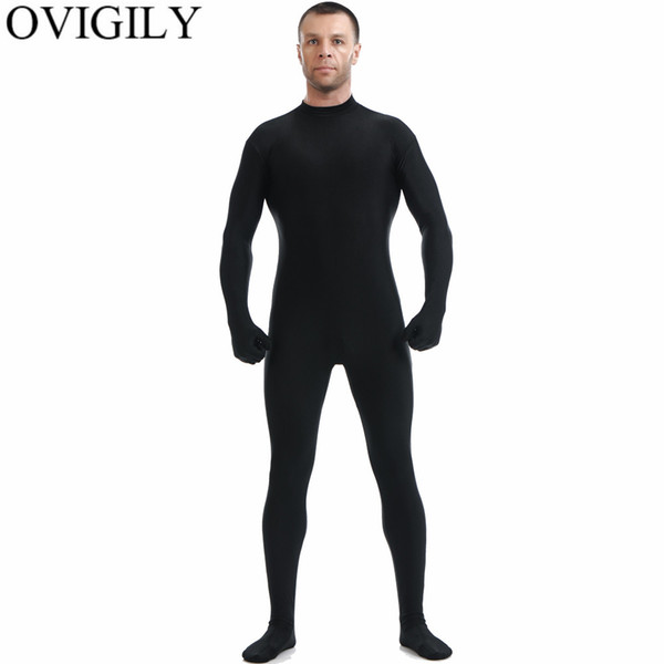 OVIGILY Mens Preto Full Body Zentai Terno Spandex Lycra Gola Alta Bodysuits Nylon Skin Collants Uniformes Bodysuits Cosplay No Hood