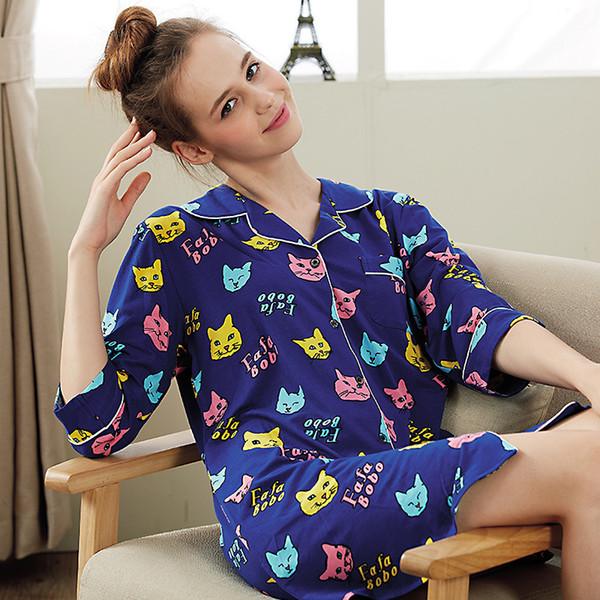 Summer Women Nightgowns Sleepshirts Modal Character Girls Sleepwear Casual Turn-Down Collar Sleep & Lounge Plus Size Night Dress