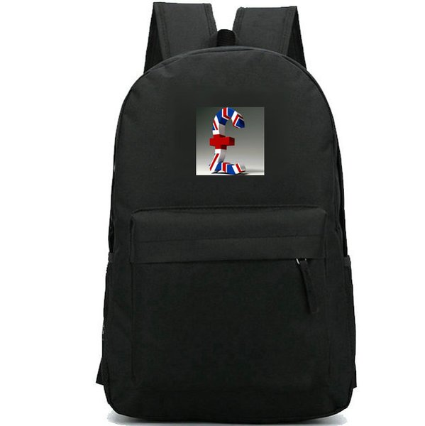Pound sterling backpack Money symbol daypack Cool schoolbag Badge rucksack Sport school bag Outdoor day pack