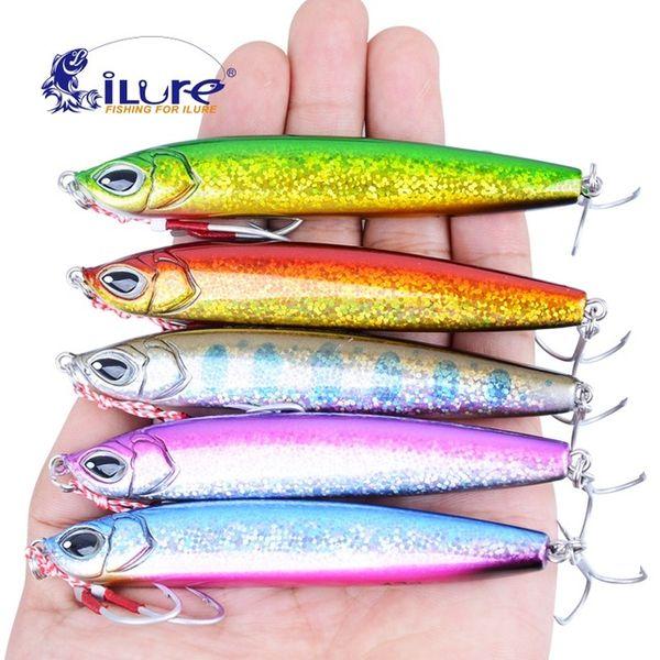 iLure 5 unids / lote 33g / 43g cebo Jig de calidad superior Señuelo Shore Long Range Casting Pesca carpa cebos Jigs Metal Caballa española Pesca