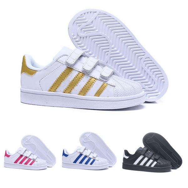 Großhandel Adidas Superstar Neue Ankunft 5 Farben Kinder Superstars Kausalen Schuhe Mit Drei Hookloop Jungen Mädchen Mode Super Sterne Freizeit