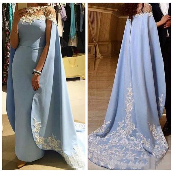2019 Sheer O-Neck Moroccan Kaftan Long Bolero Formal Evening Dress Lace Applique Arabic Prom Party Dresses Vestidos De Festa Custom