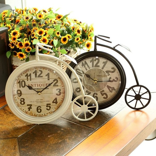 Free shipping Retro nostalgia big wheel bike, wrought iron table clock, clock bell household act the role of single clock