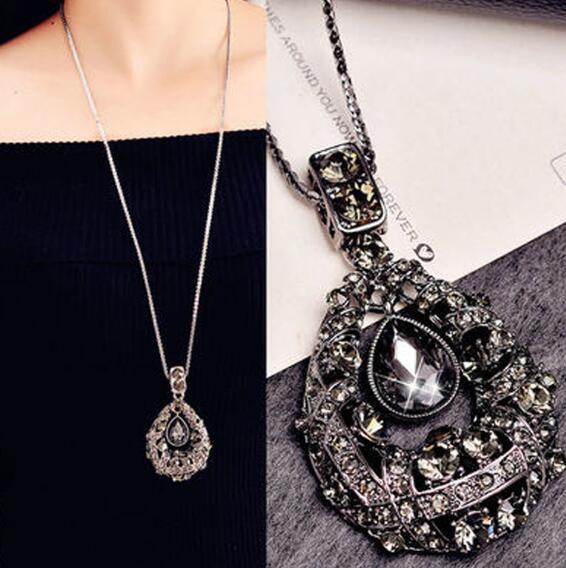 Envío gratis joyería europea y americana cristal gema collar moda gota larga cadena de suéter de gama alta colgante de cristal moda clásica de
