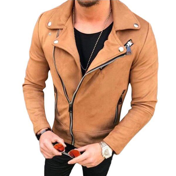 Fashion Mens Suede Leather Jackets Lapel Zipper Slim Biker Jacket Outerwear Hip Hop Coats Male Streetwear Men Clothes Casacos