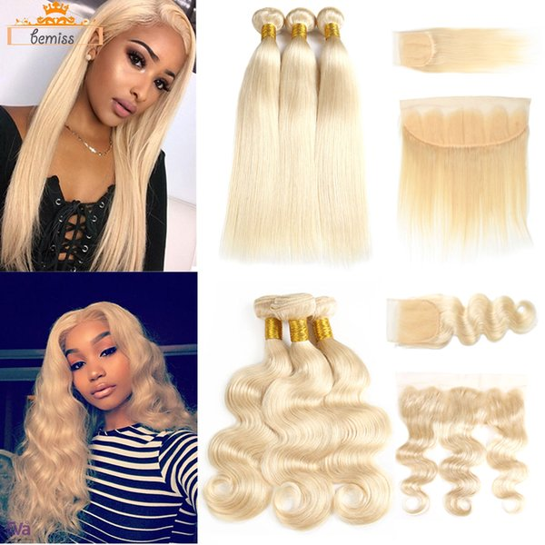 Brazilian Straight 613 Blonde Human Hair Weaves Unprocessed Brazilan Virgin Hair Bundles with Closure Body Wave Hair Extensions and Frontal