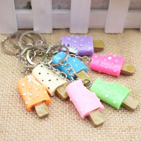 Random Multi Color Sweet Ice cream Key Rings Chains Pendant Ornament For bag car Keychain charm candy color