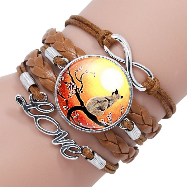 NingXiang Fashion Cat Picture Bronze Rope Silver Color Charms Bracelet Handmade Glass Cabochon Infinity Love Bracelets Bangles