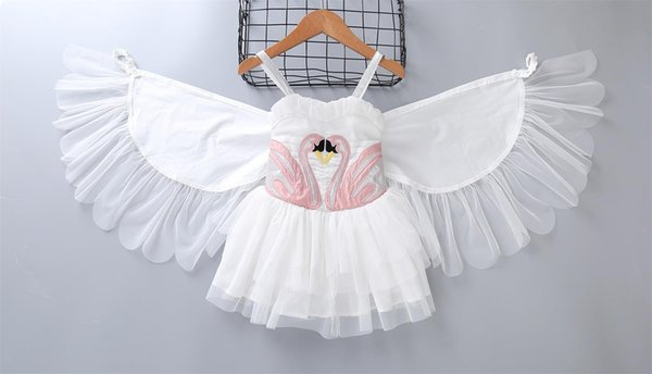 Baby girls swan wings dress children suspender princess dresses 2018 summer Boutique kids perform Dress Clothing MMA922 30pcs