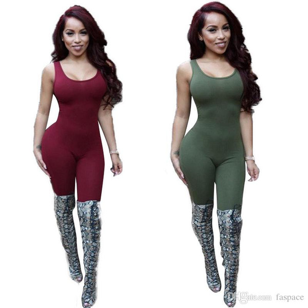 Wholesale- Backless Jumpsuit Body Tank Top Sexy Romper Bodysuits Plus Size Rompers Womens Jumpsuit Playsuit Overalls For Women Jumpsuits