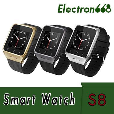 S8 Android 4.4 Smart Watch G / M-Telefon GPS MTK6572 Dual-Core-512MB 4GB 2.0MP Kamera SIM 3G WiFi Bluetooth 4.0 WCDMA 1,54 Zoll Smartwatch