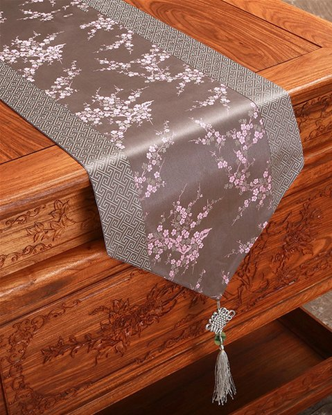 best selling Patchwork Chinese knot Elegant Damask Table Runners Cherry blossoms Rectangle Wedding Christmas Table cloth Decorative Table Mat 200x33 cm
