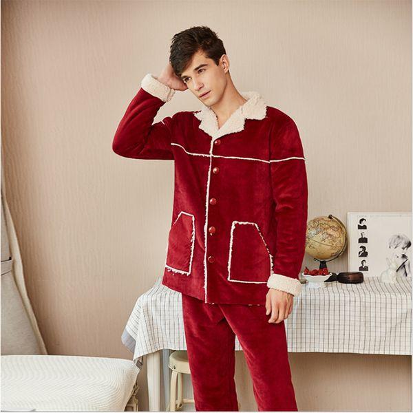 Cardigan Männer Pyjama MantelHose Großhandel Qianxiu Homewear Paare Winter Marke Fleece Frauen Von Verdicken Sets Nachtwäsche Anzug Feste Homewear qUSGzMVp