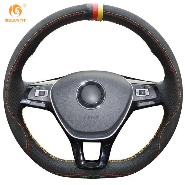 MEWANT Black Leather Black Suede Steering Wheel Cover for Volkswagen VW Golf 7 Mk7 New Polo Jetta Passat B8 Tiguan Sharan