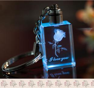 EUBFREE 20pcs Luminous Rectangle Crystal Glowing Rose Key Chains Colorful Key rings Souvenir Small gifts Keychain 3.0*2.0*1.2cm