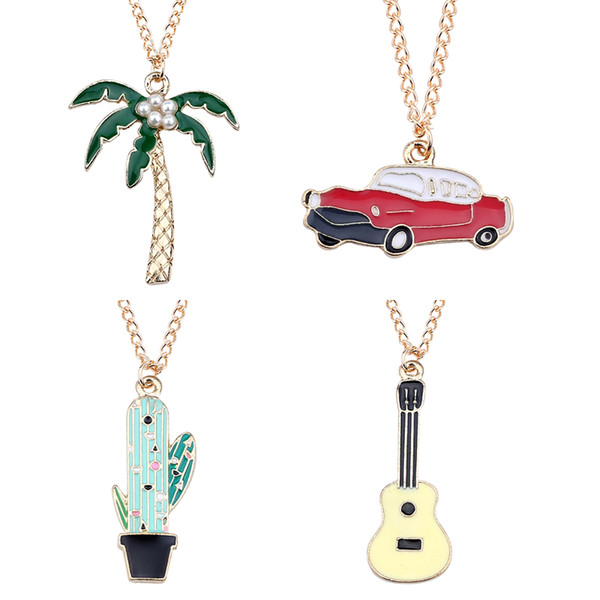 Cartoon Pearl Coconut Cactus Car Guitar Pendant Necklaces Gold Enamel Plants Choker Necklaces For Women Girls Christmas Gifts Wholesale