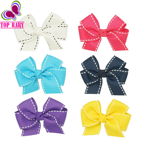 2 Pcs/lot 3'' Mini Hair Bows for Kids Child Handmade Grosgrain Ribbon Bows Hair Clips with Striped For Girls Accessories