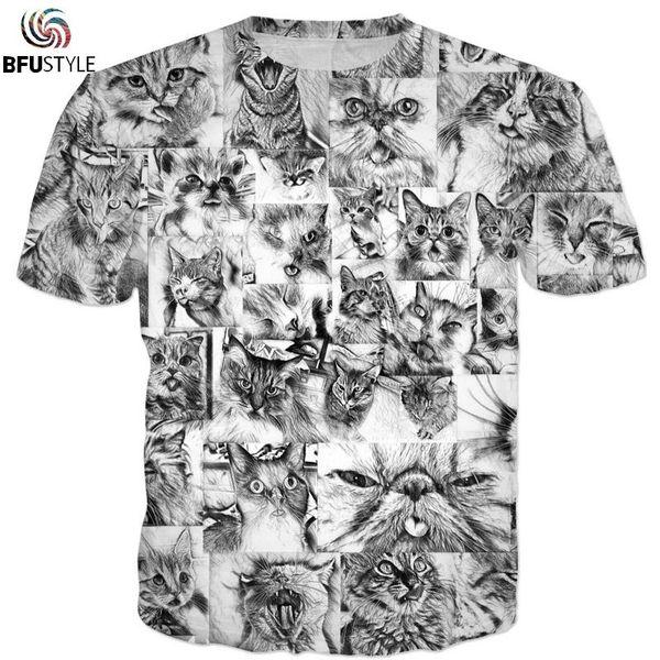 Ahegao Cats Hentai Anime T-Shirt Men 2018 New Fashion Hip Hop Streetwear Graphic Tops Casual Summer Tees 3D Tshirt T-shirt 3XL