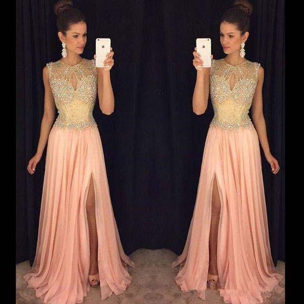 New Blush Pink Prom Pageant Dresses 2019 Luxury Crystal Beaded Jewel Sexy Split Flowy Chiffon Cap Sleeve Evening Wear Gowns