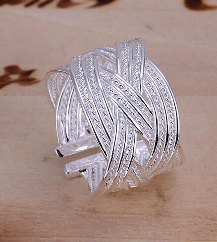 2018 New Fashion Silver Plated Big Net Weave Open Adjustable Ring for Women Wide Creative Finger Rings Wholesale Female Jewelry
