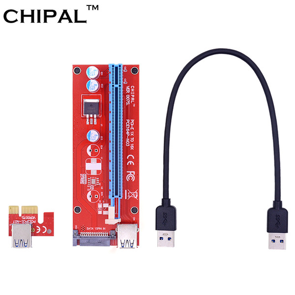 CHIPAL VER007S 30CM PCI-E PCI Express 1X to 16X Riser Card Extender with USB 3.0 Data Cable / 15Pin SATA Molex Power Supply