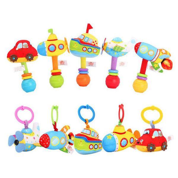 free shipping1 set Plush Infant Baby Toys Handbells Rattles Handle Pull Shock Toys Car Rocket boat Plane Submarine Baby Bed Stroller Hanging