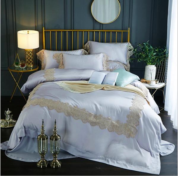 Ensembles de literie 4pcs 3D housse de couette drap de lit taies d'oreiller taille reine roi romantique dentelle série ensembles de literie d'été